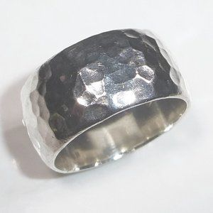 Silpada Hammered Sterling Silver Cuff Cigar Ring 9